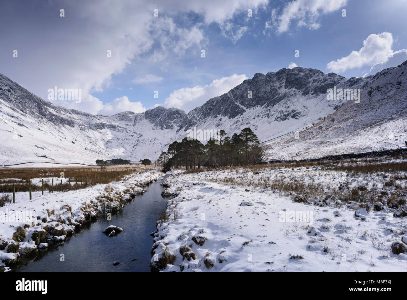 Winter snow clad fell Haystacks a mountain in the Buttermere region of the English Lake District. The landscape - Stock Image
