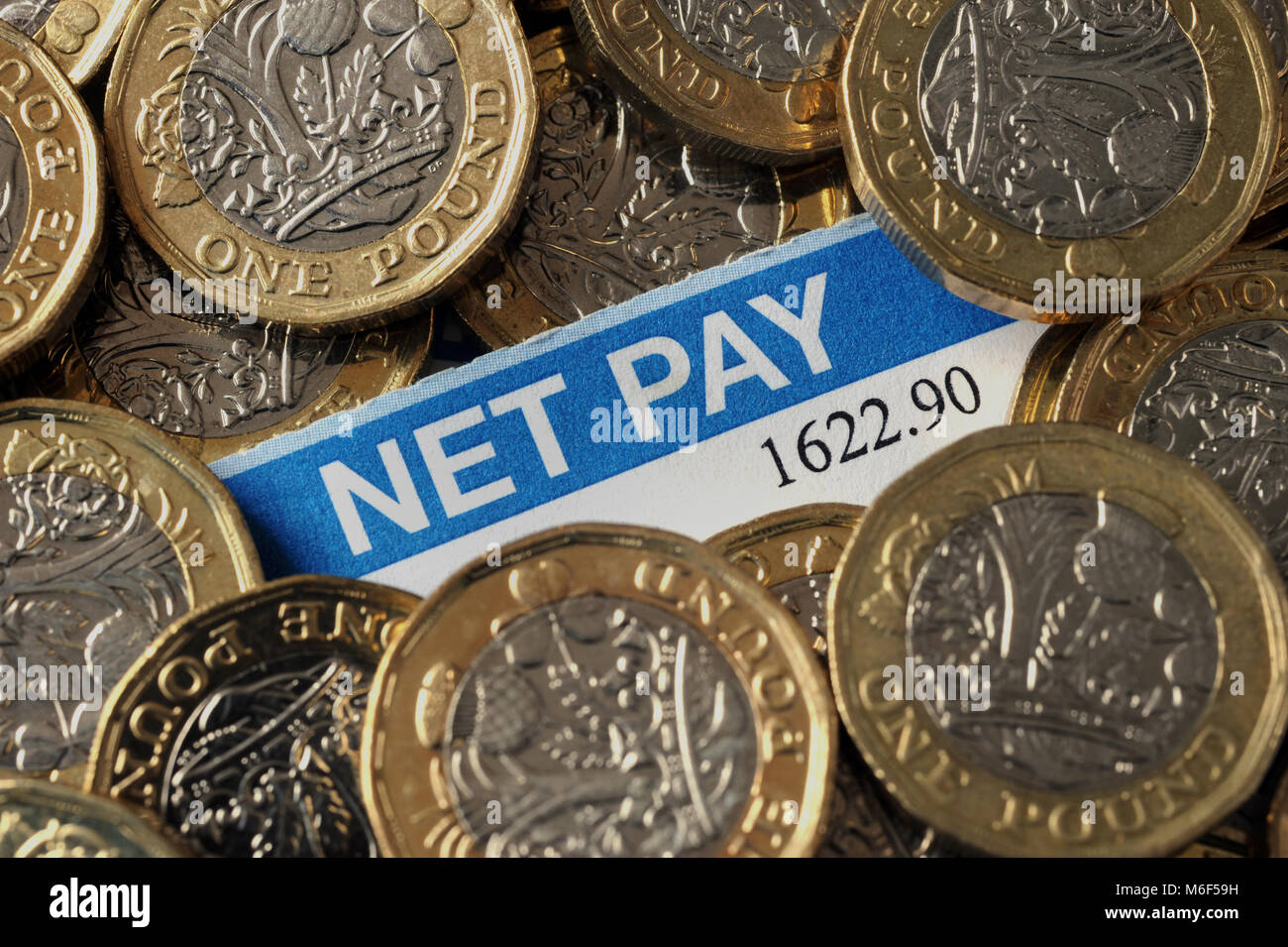 BRITISH PAYSLIP WITH NEW ONE POUND COINS RE INCOME WAGES NET PAY MINIMUM WAGE LIVING WAGE WORKERS ETC UK - Stock Image