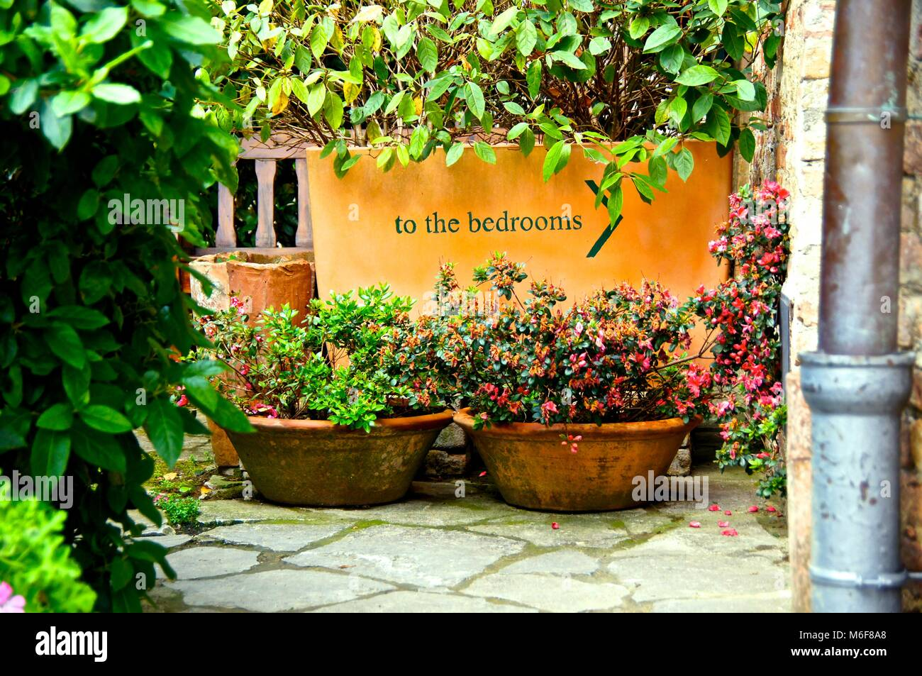 Entryway to rooms in bed and breakfast in Siena, Italy Stock Photo