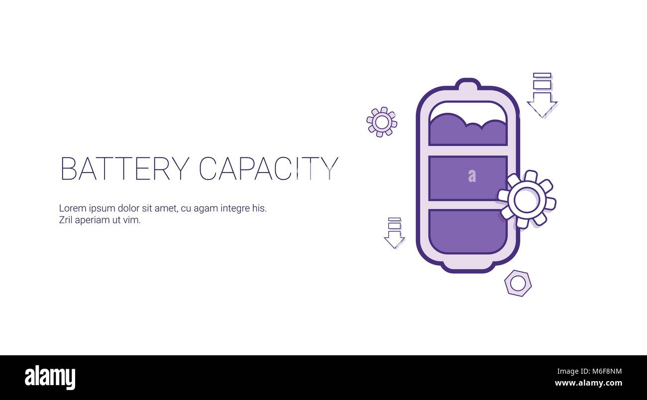 Battery Capacity Rechrge Indicator Template Web Banner With Copy Space - Stock Vector