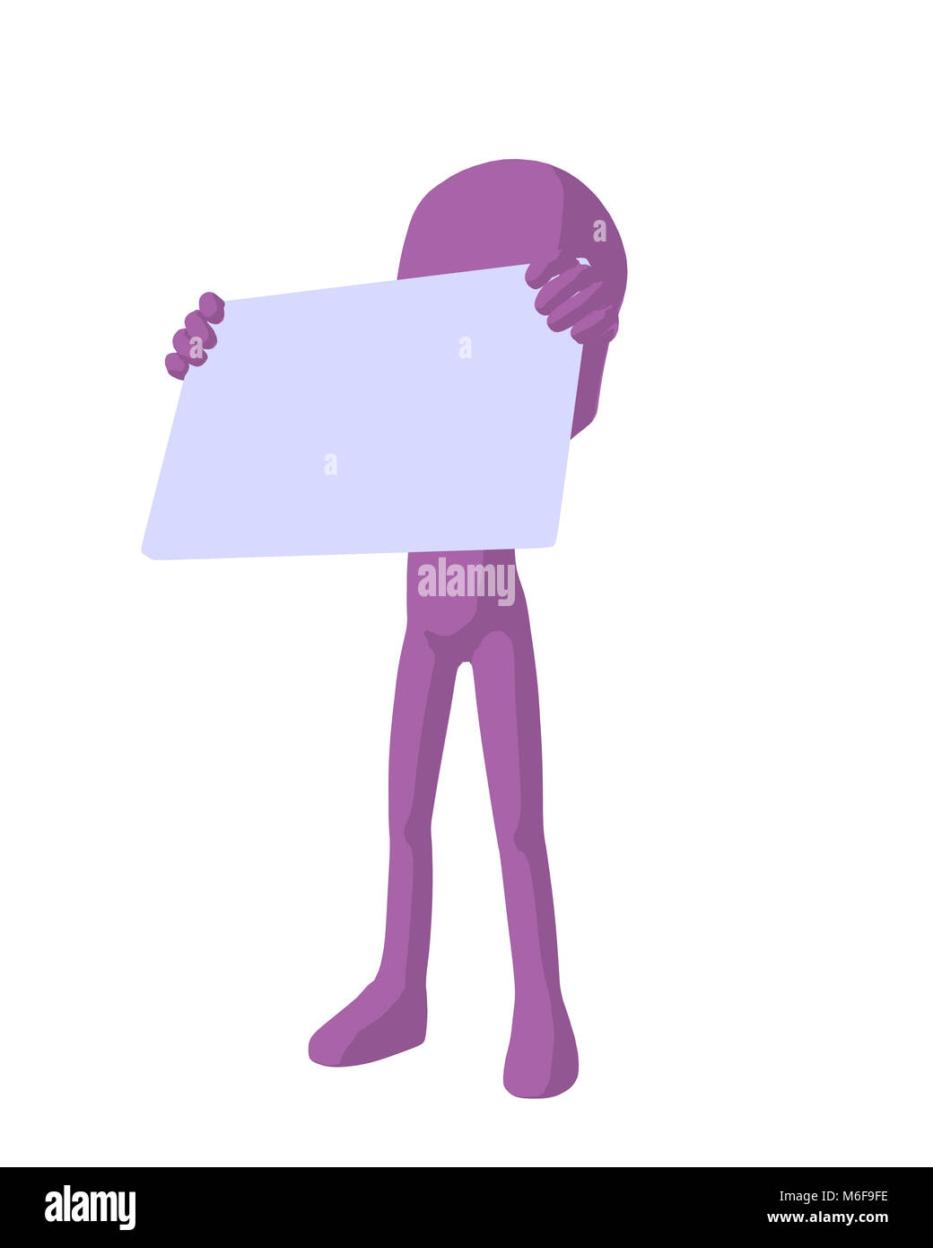 Cute purple silhouette guy holding a blank business card on a white ...