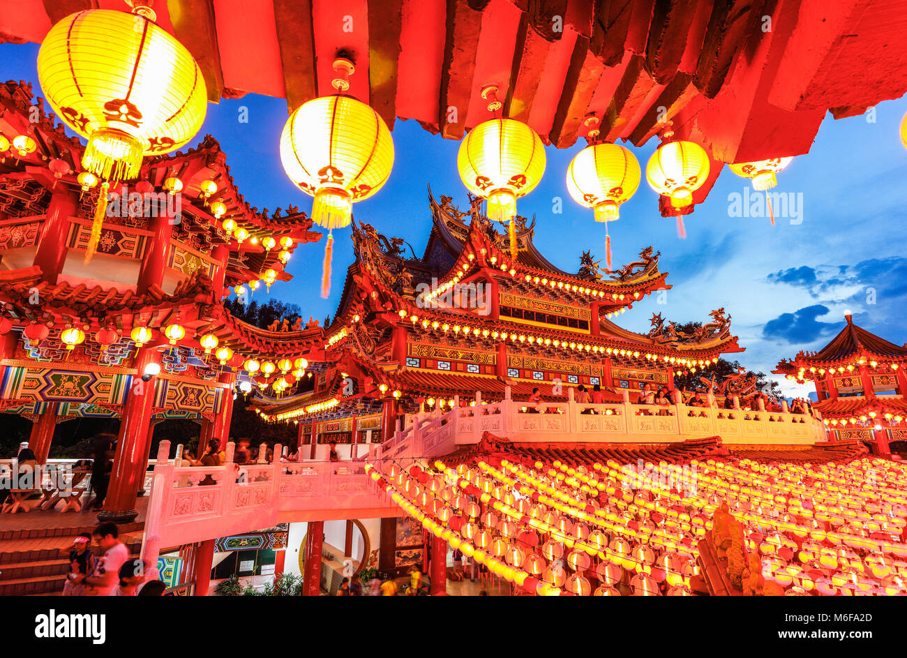The Red Lanterns of Thean Hou Temple, Kuala Lumpur during the Lunar Chinese New Year. - Stock Image
