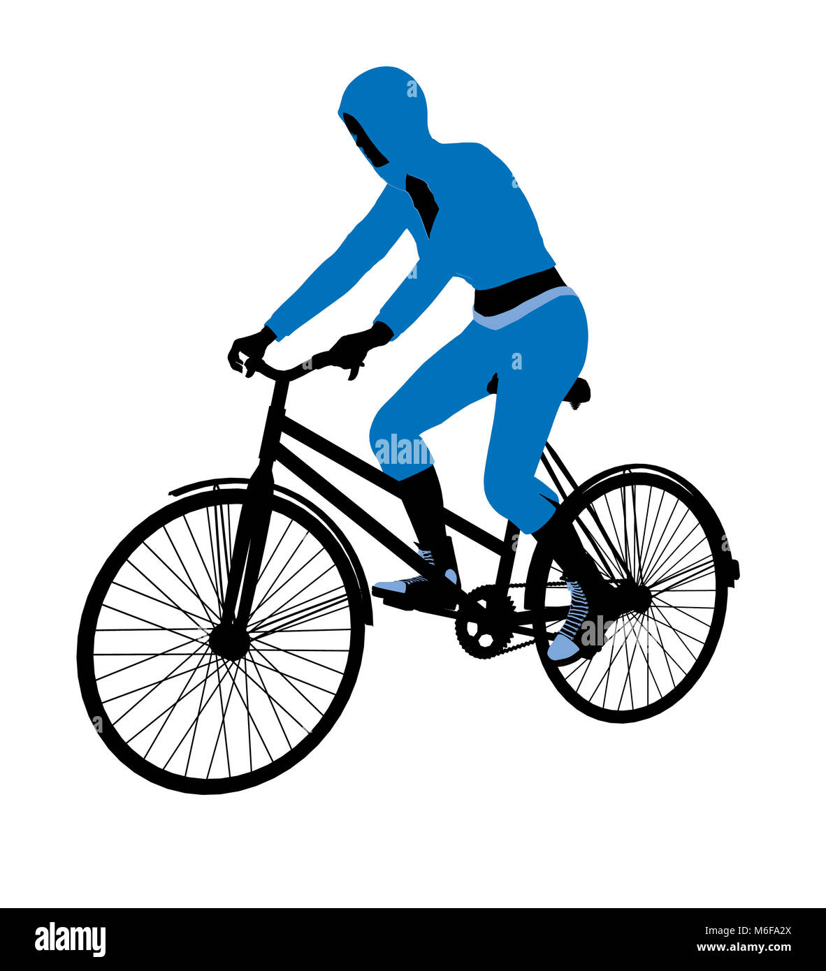 Female bicycle rider silhouette in a blue outfit on a white background - Stock Image