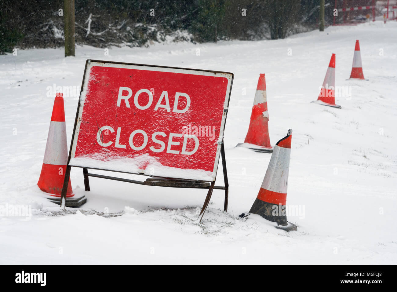A red Road Closed sign and traffic cones covered in fresh fallen snow on a lane in Hampshire, England. Taken on - Stock Image