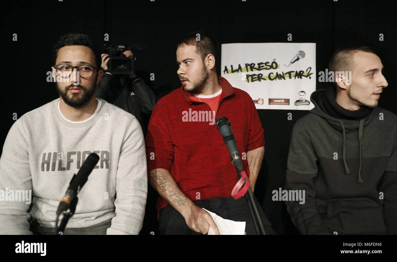 Barcelona, Spain. 3rd March 2018. (L-R) Spanish rappers Valtonyc, Pablo Hasel and Elgio, all three of them on a - Stock Image