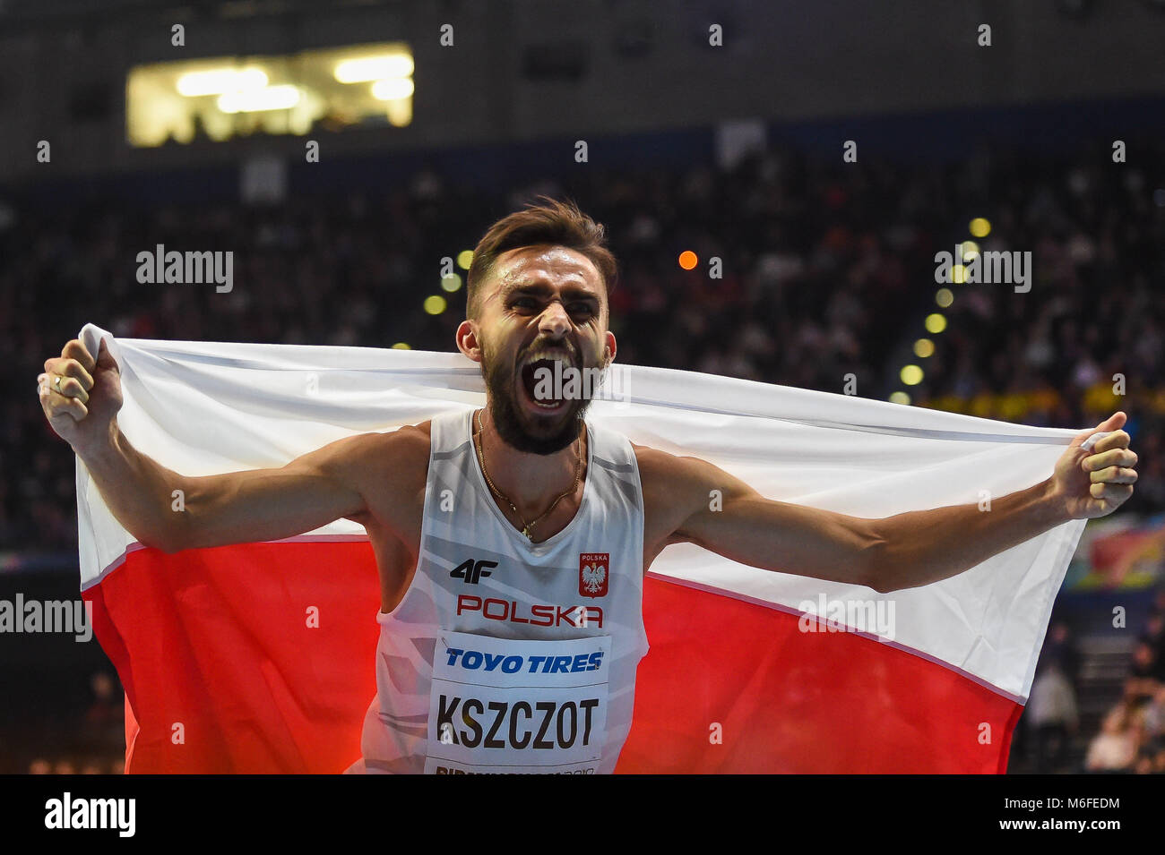 Birmingham, UK. March 3, 2018. Adam Kszczot of Poland winning 800 meter at World indoor Athletics Championship - Stock Image