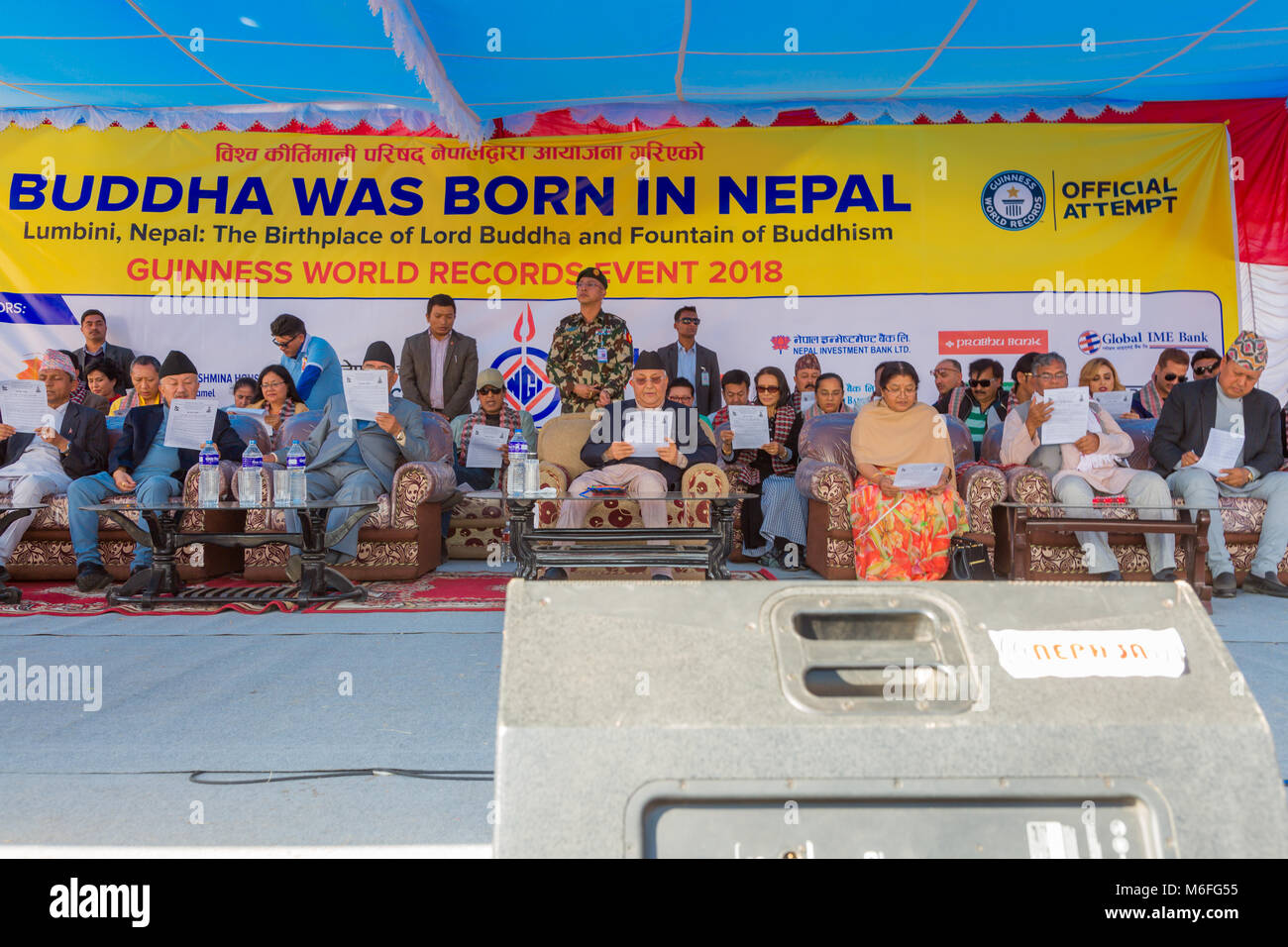 Kathmandu Nepal -Mar 3,2018: People taking part in the Guinness World Records Event 2018 organised to recite 'Buddha - Stock Image