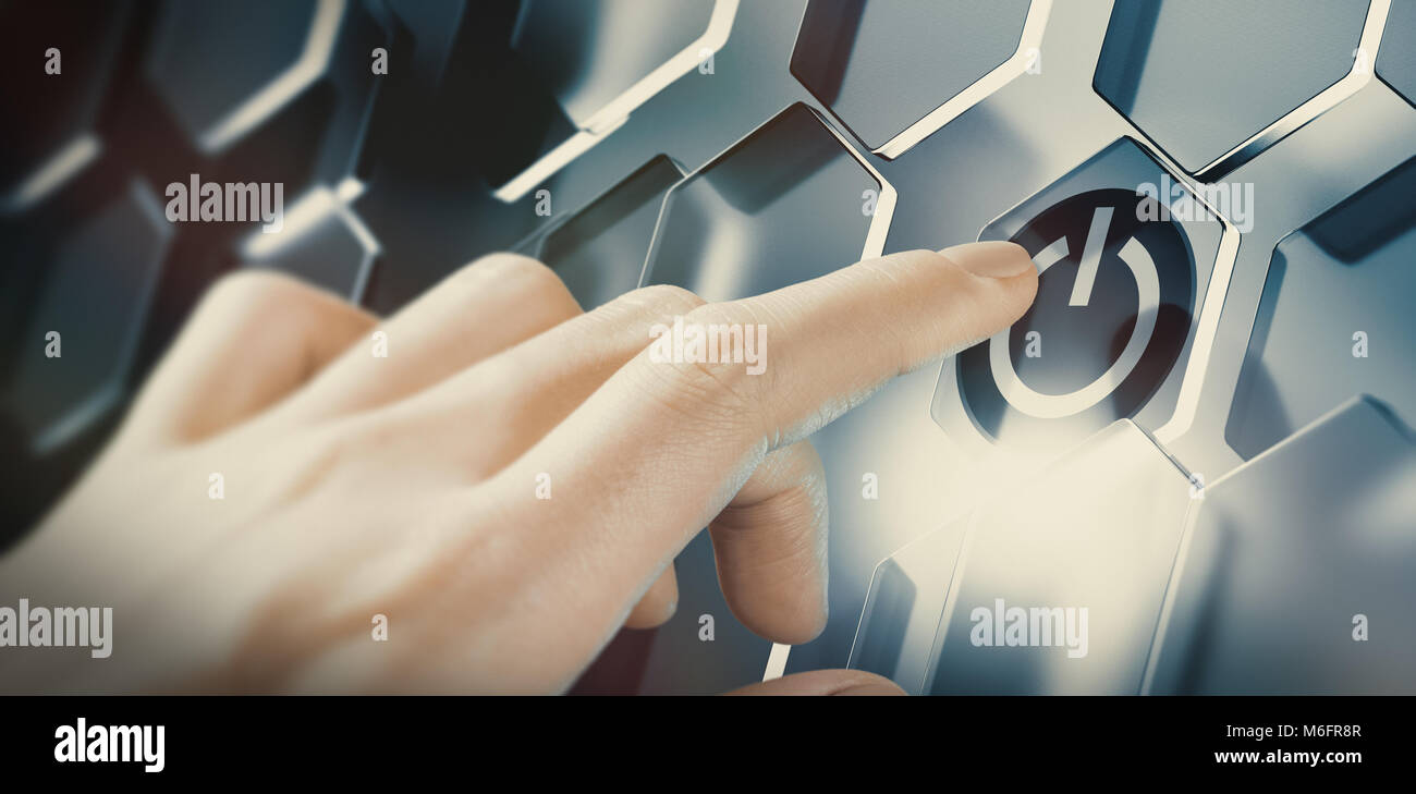 Finger pushing digital start button on a futuristic interface. Conceptual design of an innovative technology. Composite - Stock Image