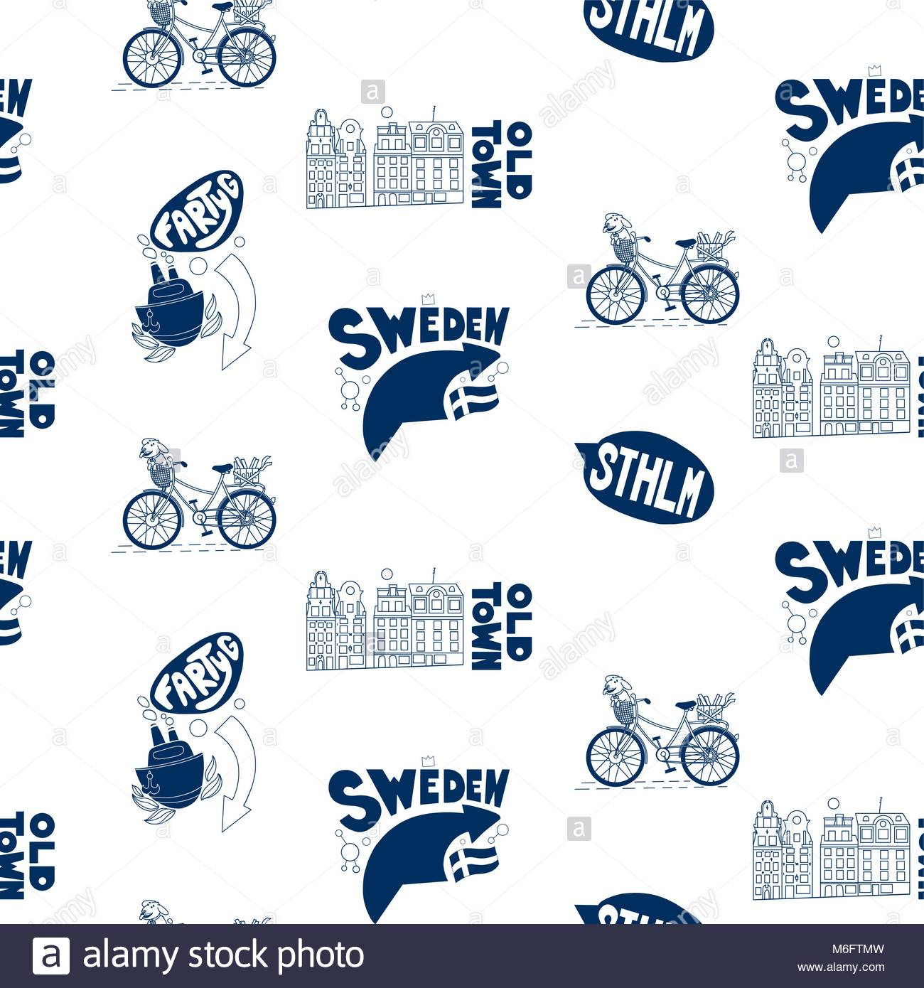 Seamless pattern with Stockholm's elements on white background. Good for souvenirs from Sweden - typical swedish - Stock Image