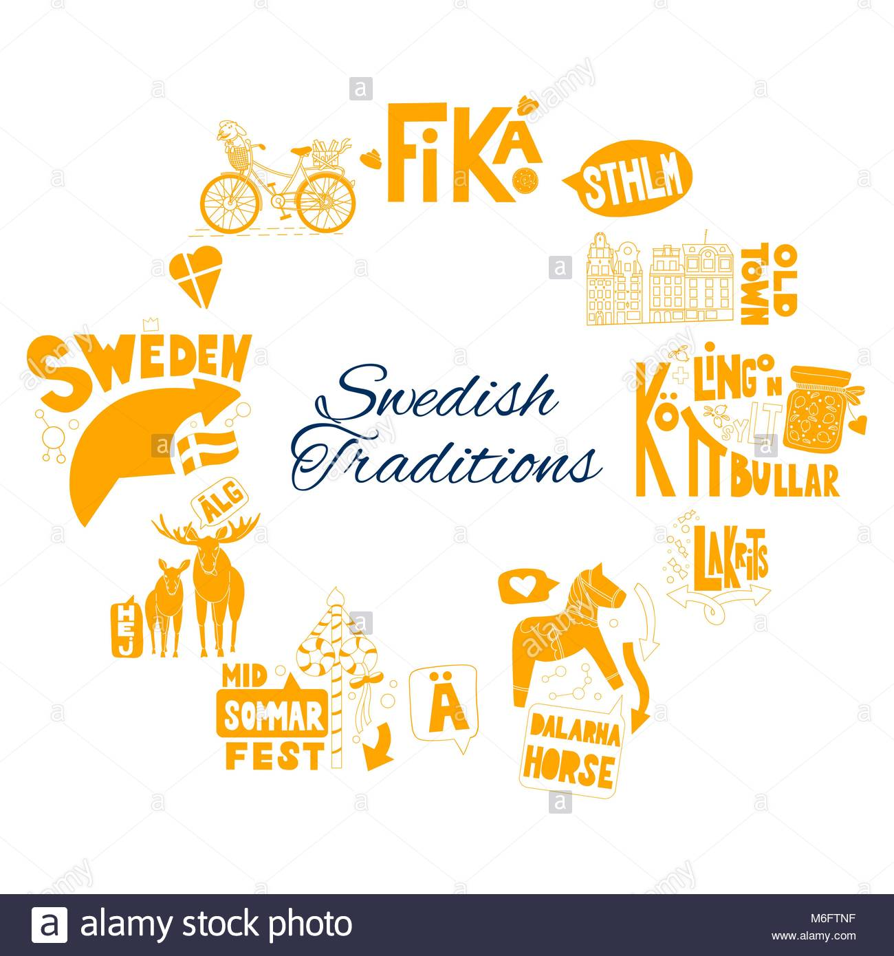 Hej Sverige (Hello Sweden) swedish text in hand drawn lettering. For cards, postcards, pages, business materials - Stock Image