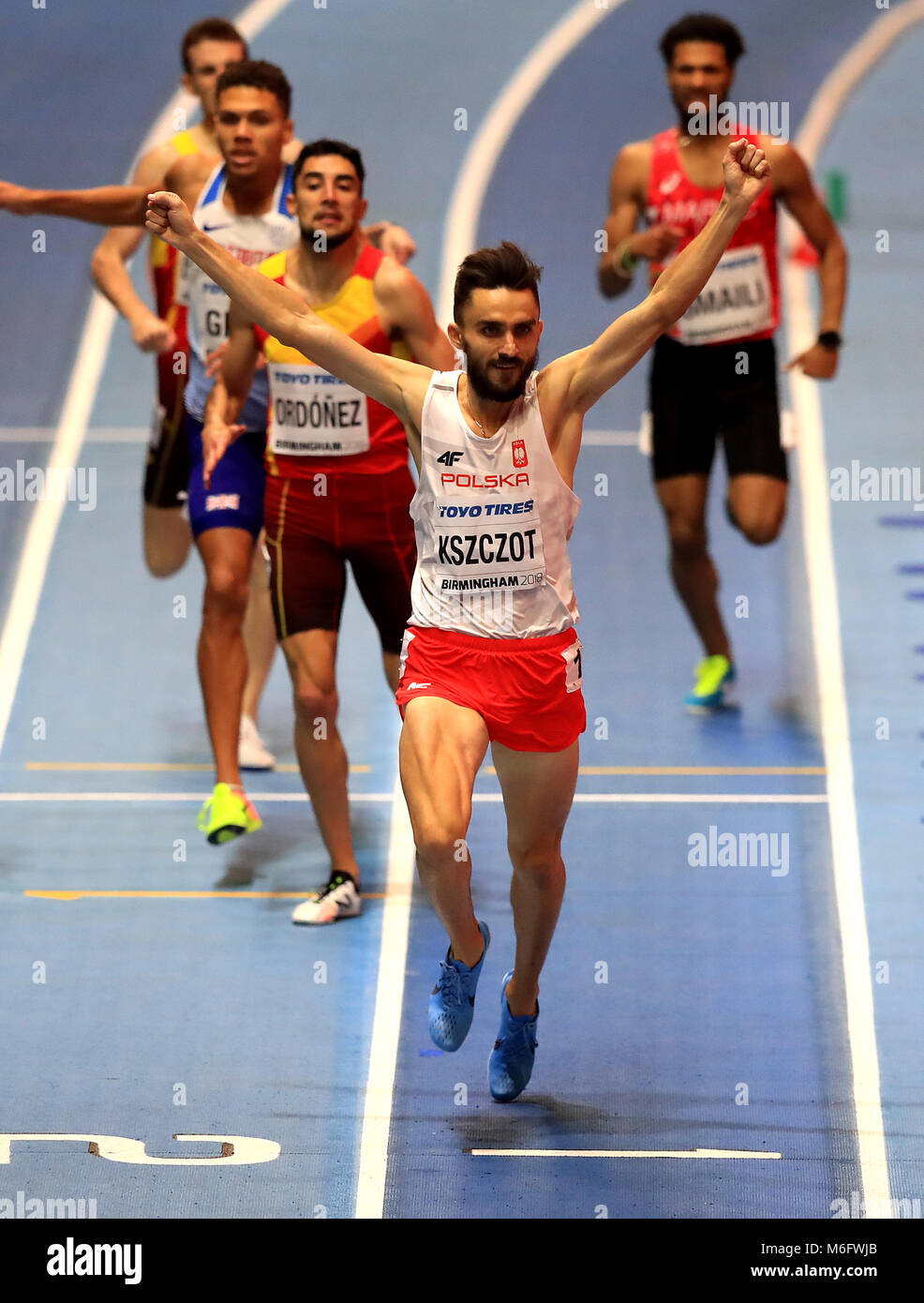 Poland's Adam Kszczot wins the Men's 800m Final during day three of the 2018 IAAF Indoor World Championships - Stock Image