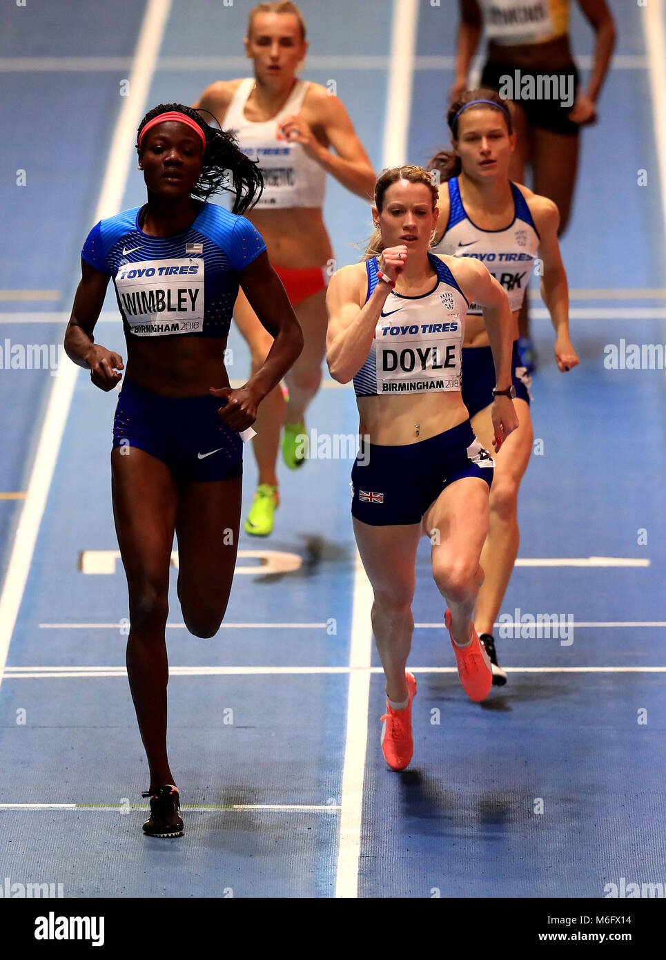 Great Britain's Eilidh Doyle (centre) on the way to winning bronze in the Women's 400m Final and Zoey Clark - Stock Image