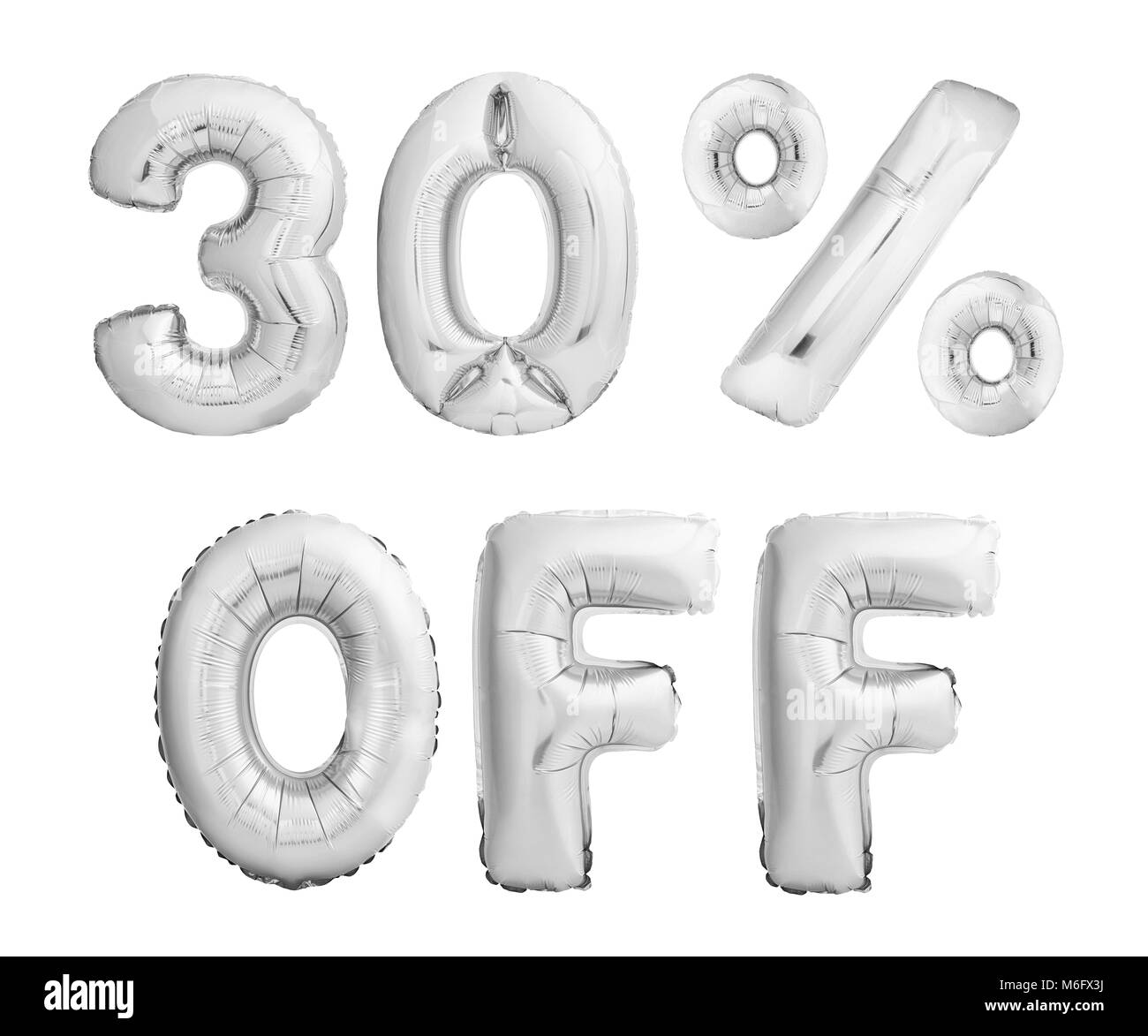 Thirty percent off discount. Silver balloons isolated on white Stock Photo