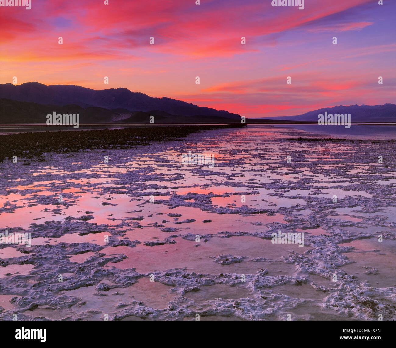 Dusk, Salt Creek, Devil's Golf Course, Death Valley National Park, California - Stock Image