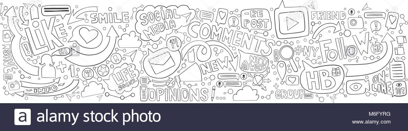 Hand Drawn Doodle Background For Social Media Topic Horizontal Graphite Lines Illustration On