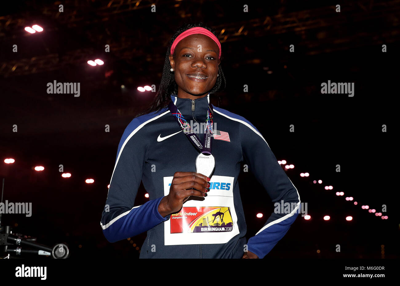 USA's silver medal 400m Final winner Shakima Wimbley with her medal during day three of the 2018 IAAF Indoor - Stock Image