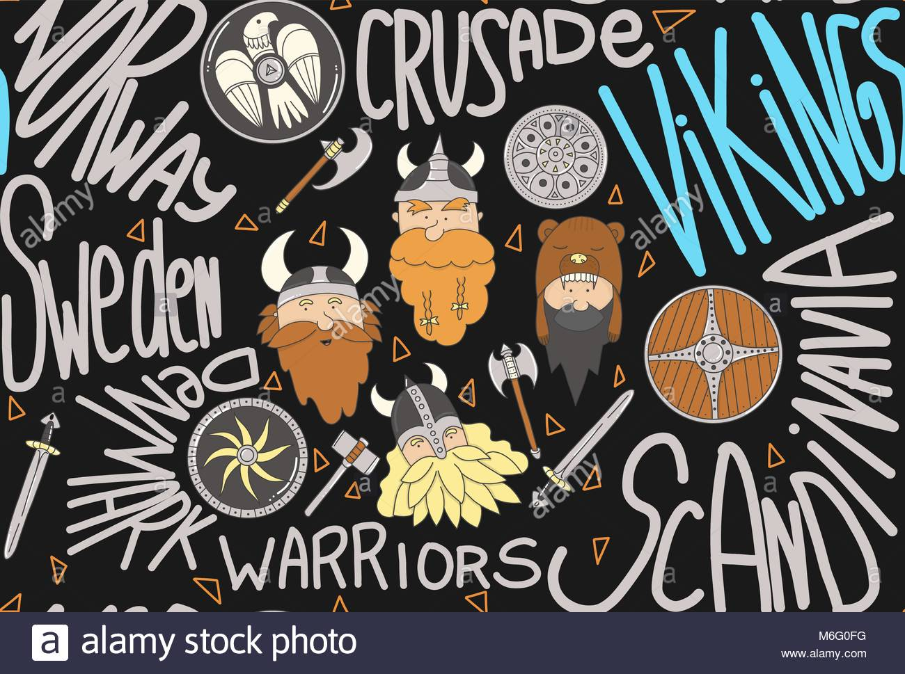 Seamless pattern with vikings. Cute and funny scandinavian warriors on the dark background with text - Stock Image