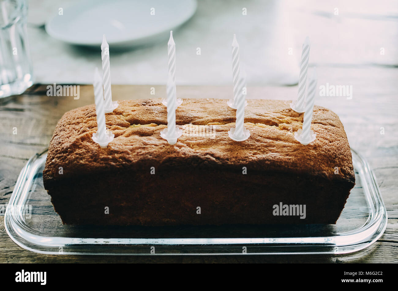 Amazing Simple Birthday Pound Cake With Eight White Cake Candles Standing Birthday Cards Printable Giouspongecafe Filternl