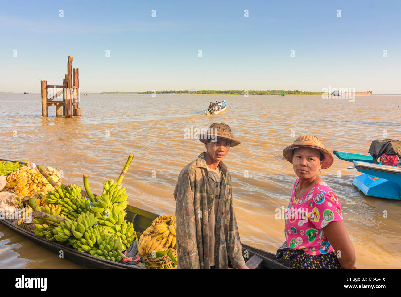 Mawlamyine (Mawlamyaing, Moulmein): ferry boat, banana cargo boat, Thanlwin (Salween) River, , Mon State, Myanmar Stock Photo