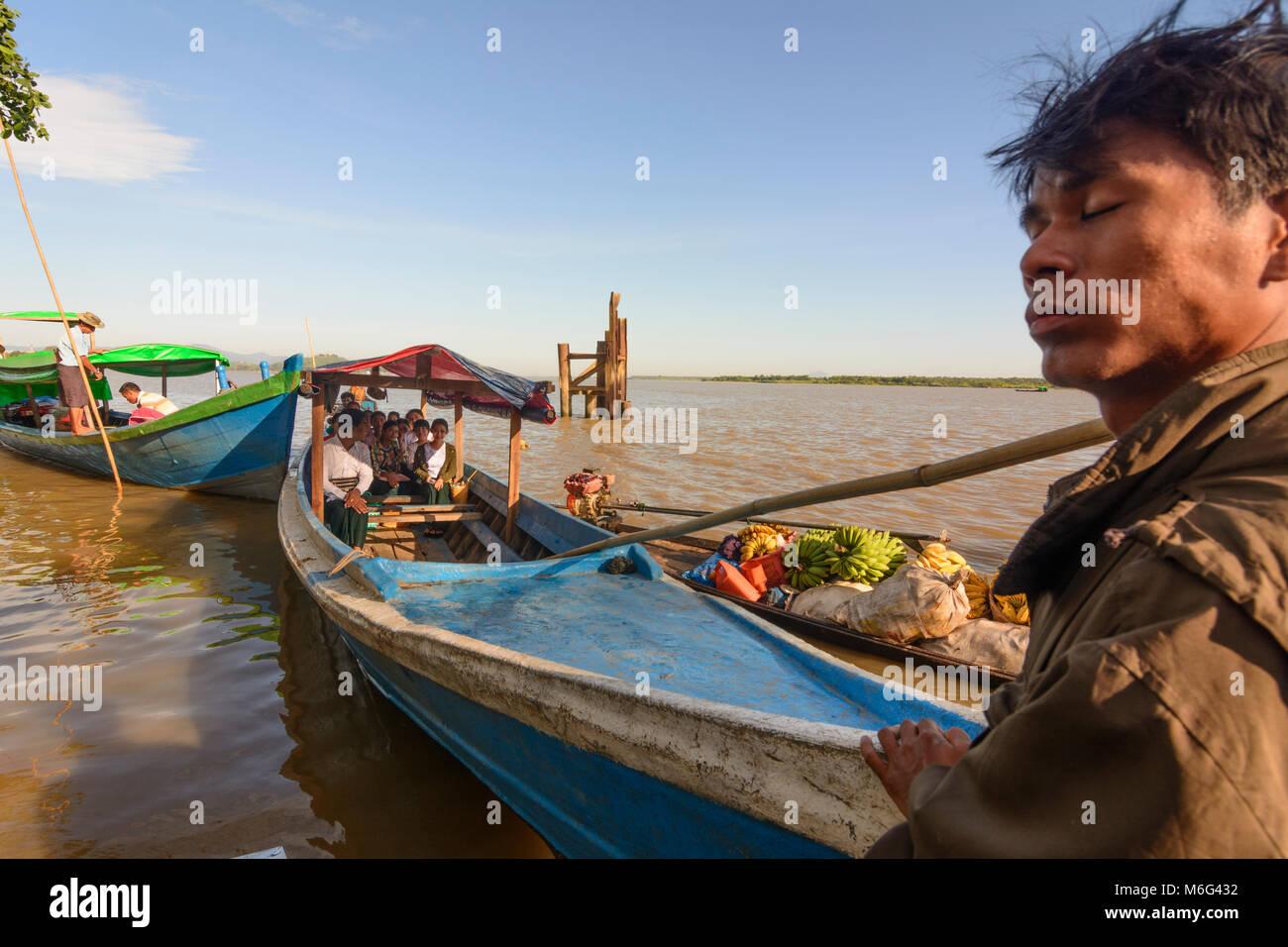 Mawlamyine (Mawlamyaing, Moulmein): ferry boat, Thanlwin (Salween) River, , Mon State, Myanmar (Burma) Stock Photo