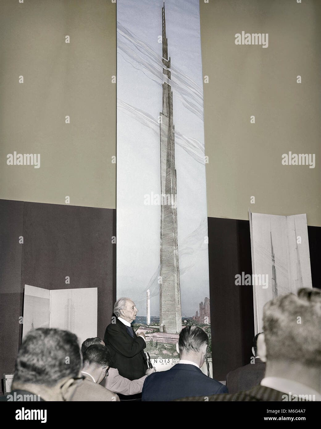 Frank Lloyd Wright unveils a 22-foot-high drawing of the mile-high building he proposes for Chicago. October 16, Stock Photo