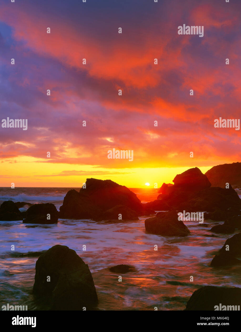 Sunset, Slide Beach, Golden Gate National Recreation Area, Marin County, California - Stock Image