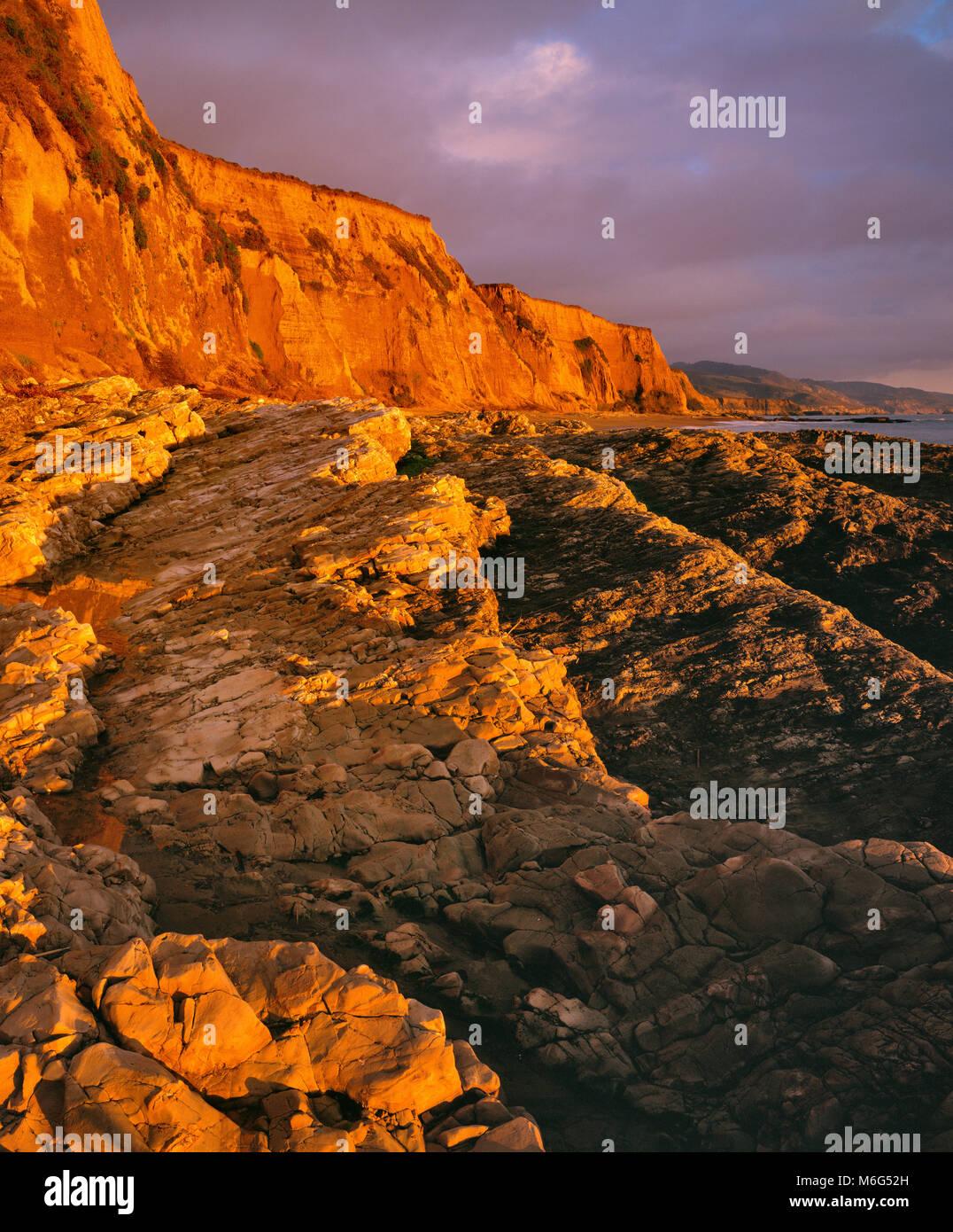 Sunset, Sculptured Beach, Point Reyes National Seashore, Marin County, California - Stock Image