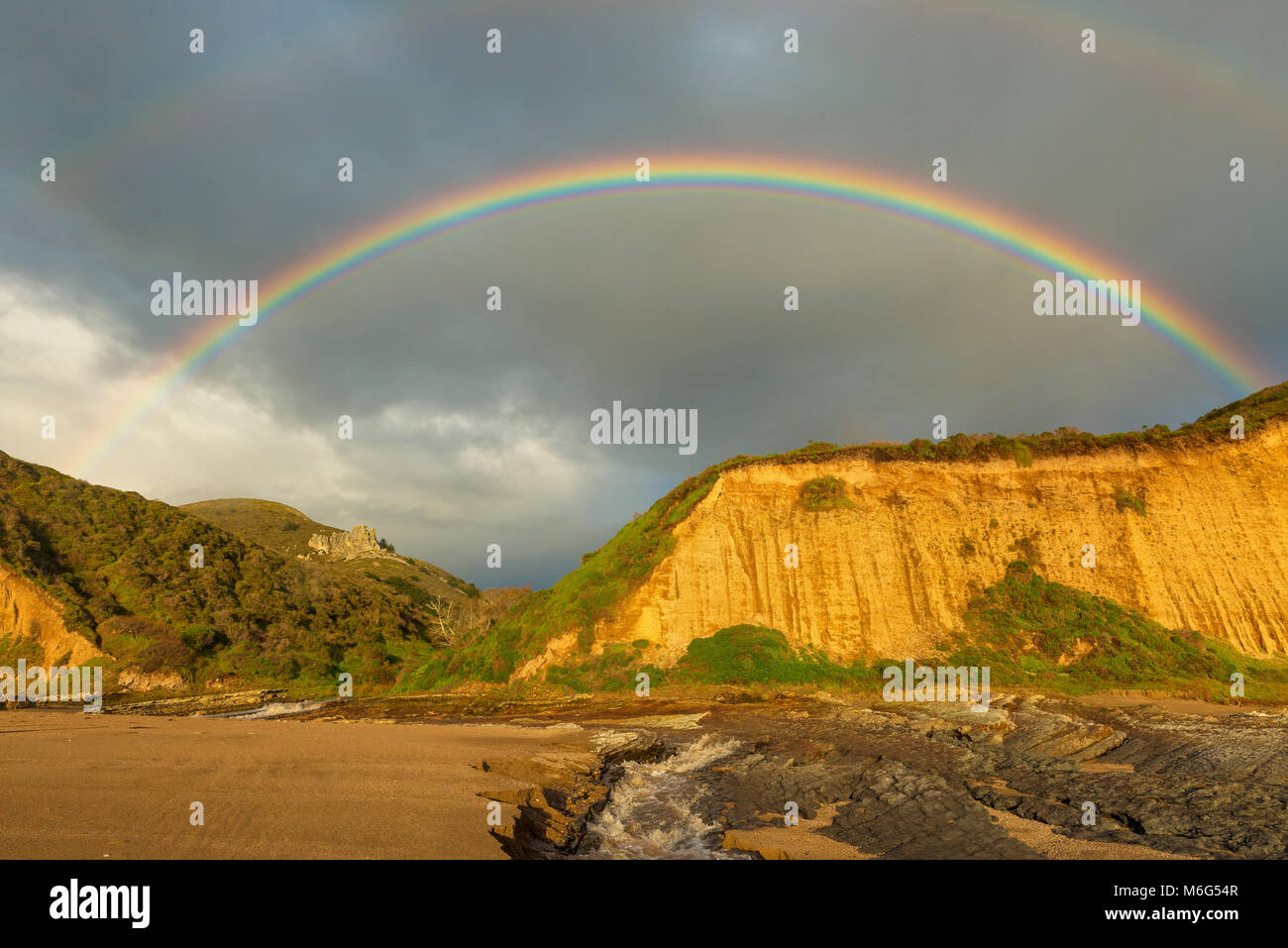 Rainbow, Sculptured Beach, Point Reyes National Seashore, Marin County, California - Stock Image