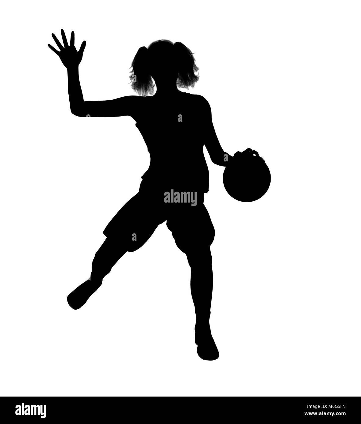 Female basketballl player silhouette on a white background Stock ... b37251533a