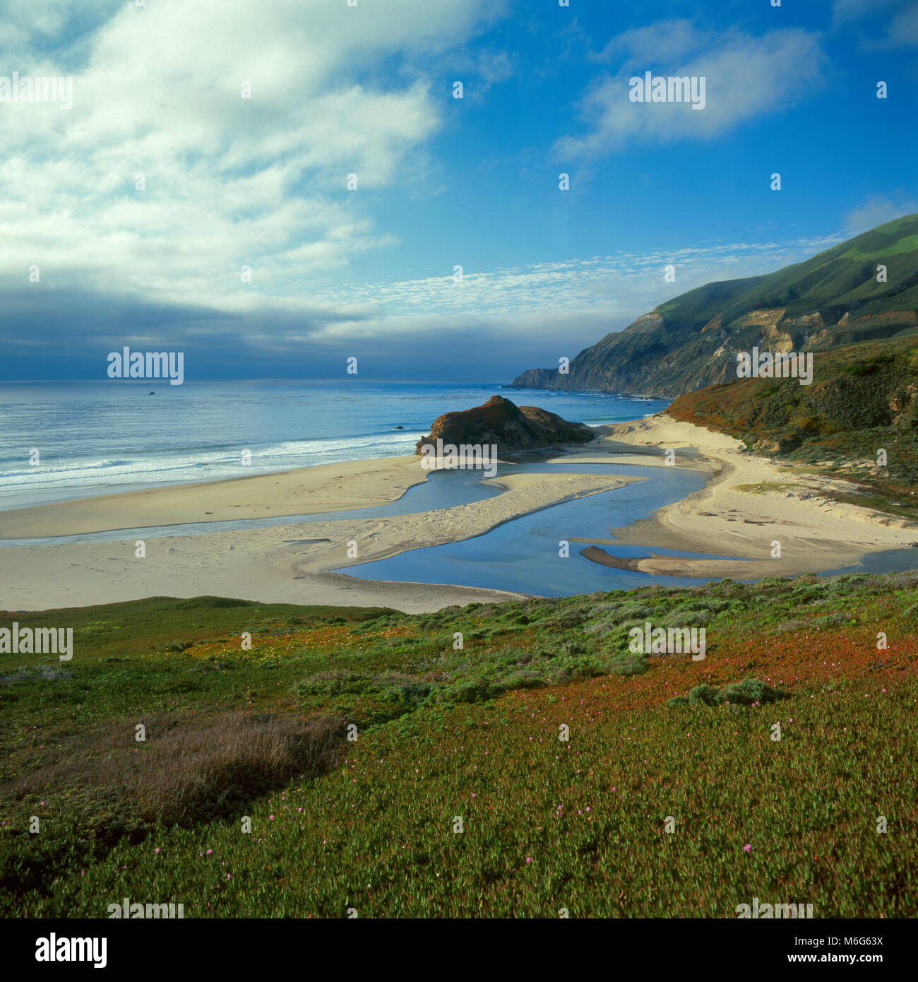 Little Sur River, Big Sur, Monterey County, California - Stock Image