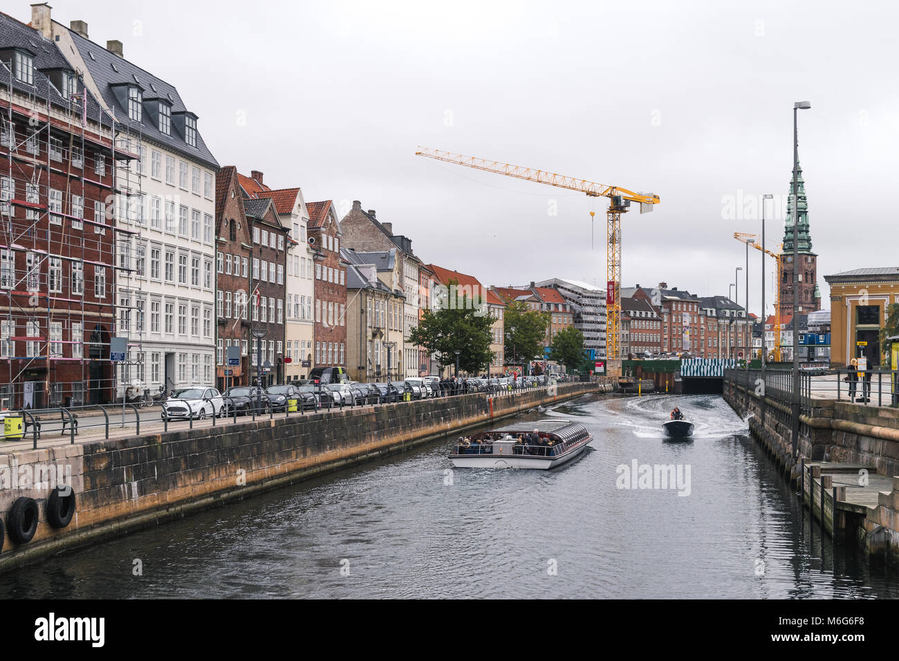 Copenhagen - October 23, 2016: View to different types of transportation in the city - Stock Image