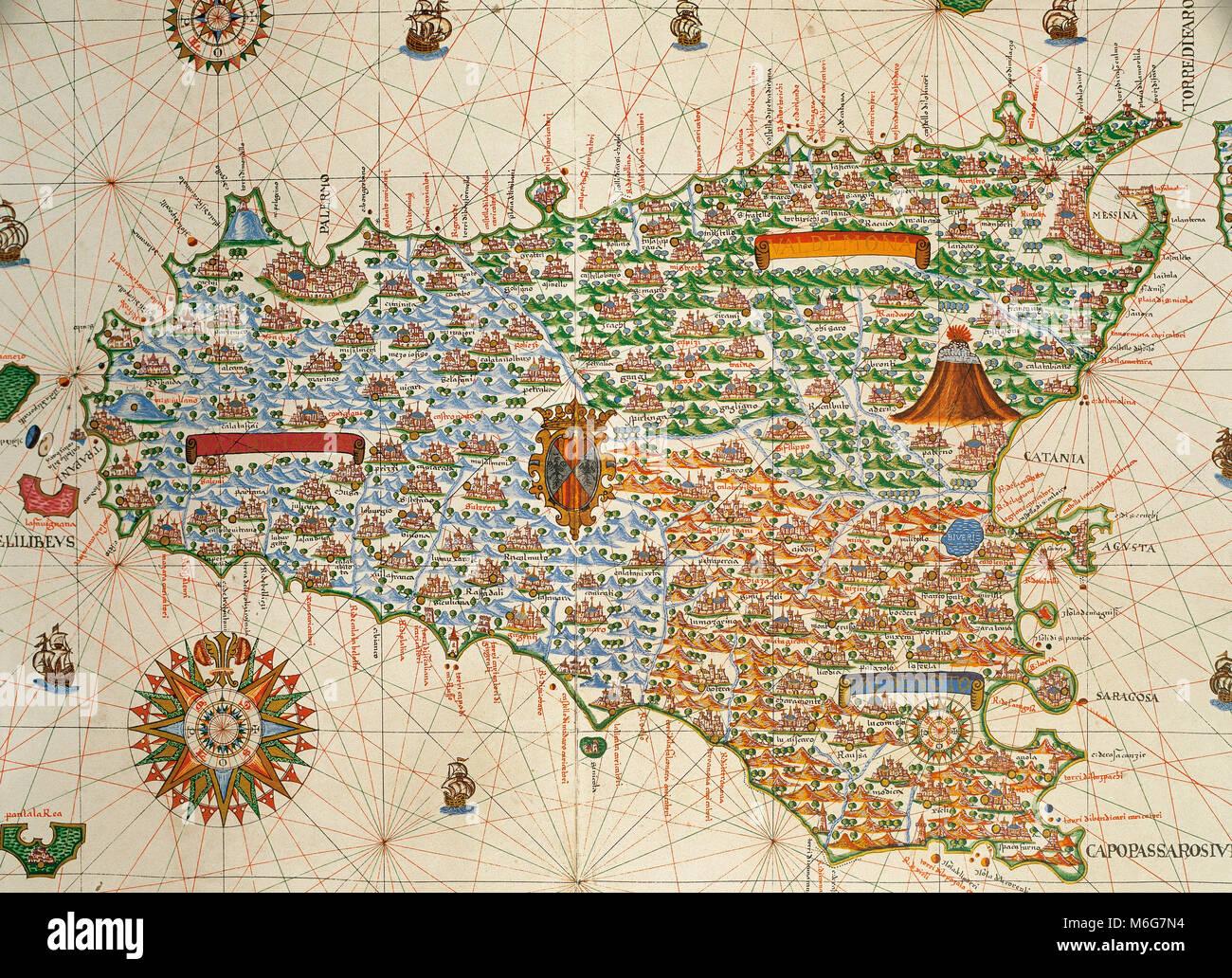 Island of Sicily. Portolan chart by Joan Martines, Spanish cartographer of the Majorcan cartographic school (16th - Stock Image