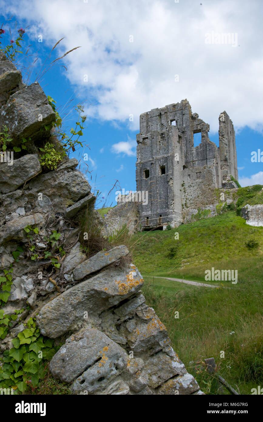 Corfe Castle, Purbeck Hills, Dorest, England - Stock Image