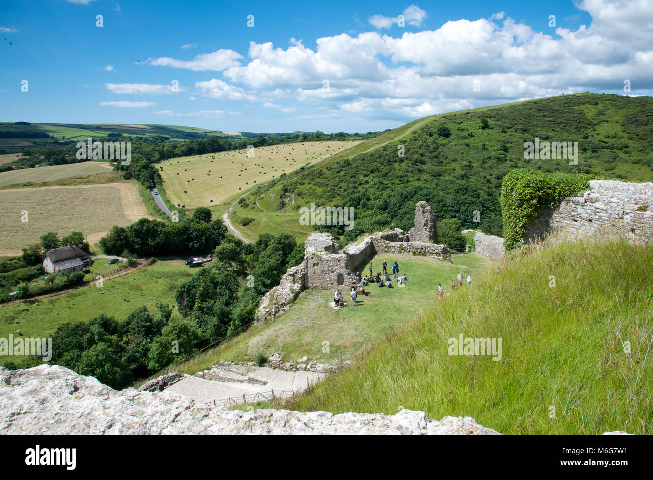A view over the Purbeck Hills from Corfe Castle, Dorset, England - Stock Image