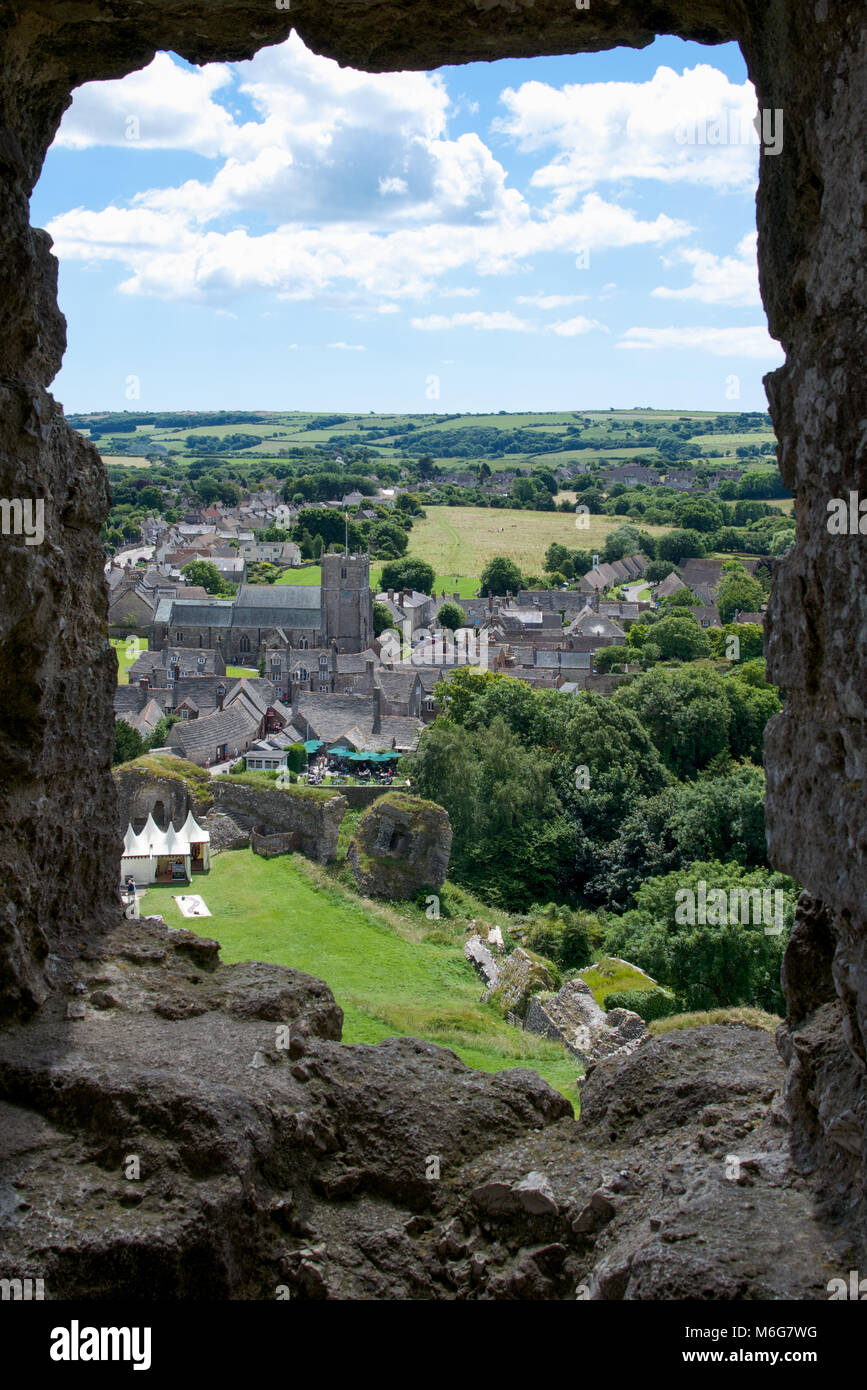A view of the village from the ruins of Corfe Castle, Dorset, England - Stock Image