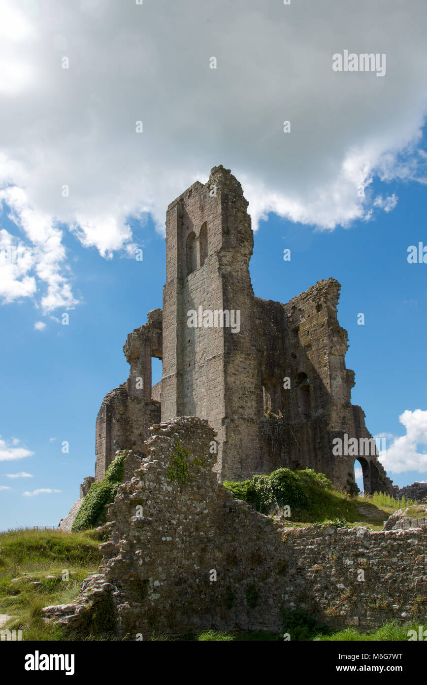 The Ruins of Corfe Castle, Dorset, England - Stock Image