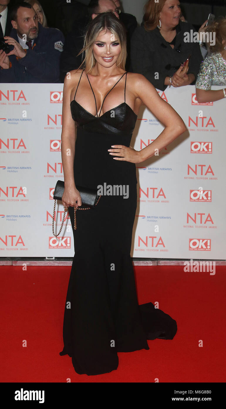 Jan 23, 2018  - Chloe Sims attending National Television Awards 2018 at The O2 Arena in London, England, UK - Stock Image