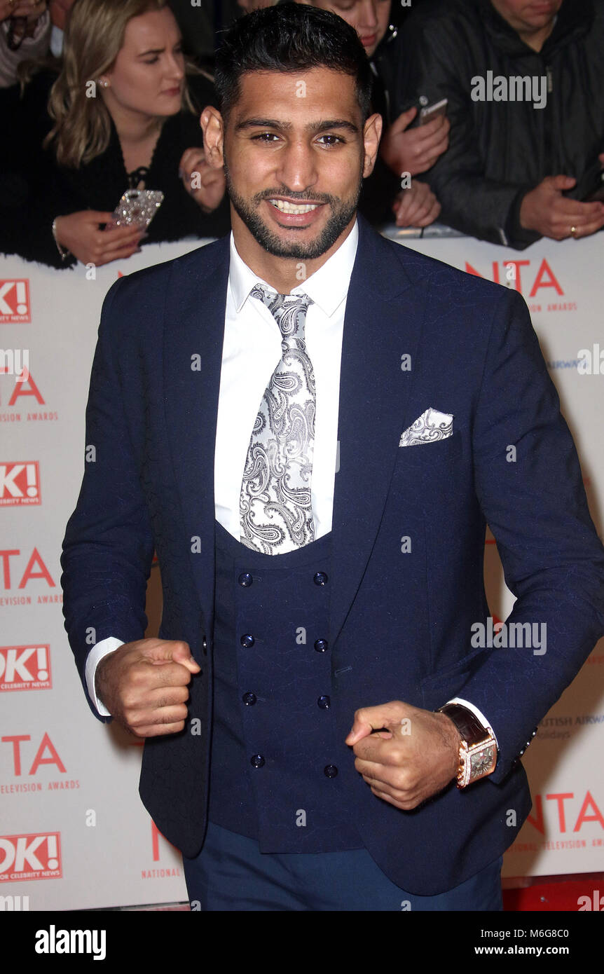 Jan 23, 2018  - Amir Khan attending National Television Awards 2018 at The O2 Arena in London, England, UK - Stock Image