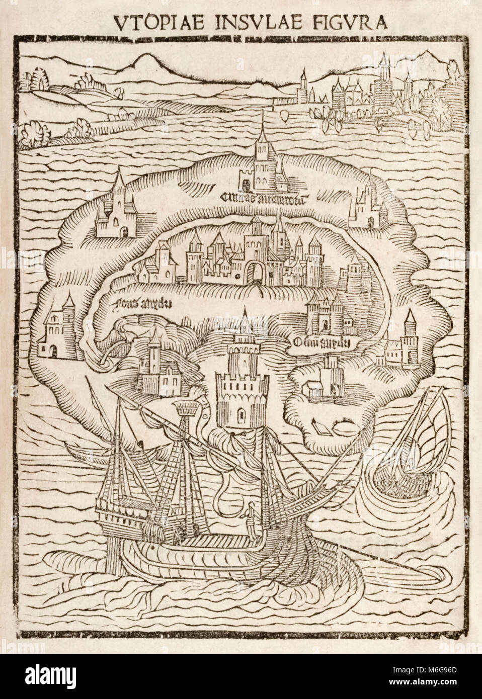 'Utopiae Insulae Figura' (Map of the New Island of Utopia) from the 1516 first edition of 'Utopia' by Sir Thomas - Stock Image