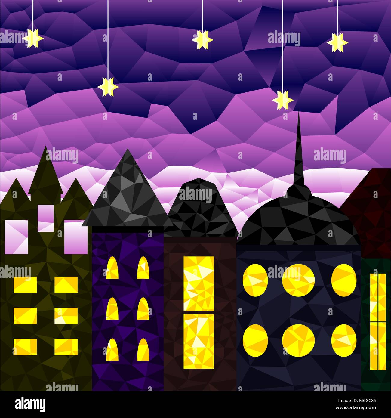 Landscape of the medieval city at night - Stock Vector