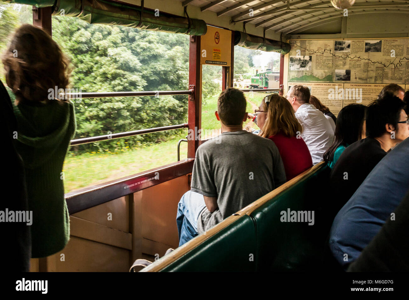 Carriage of Puffing Billy steam train with passengers. Puffing Billy is historical narrow railway in the Dandenong - Stock Image