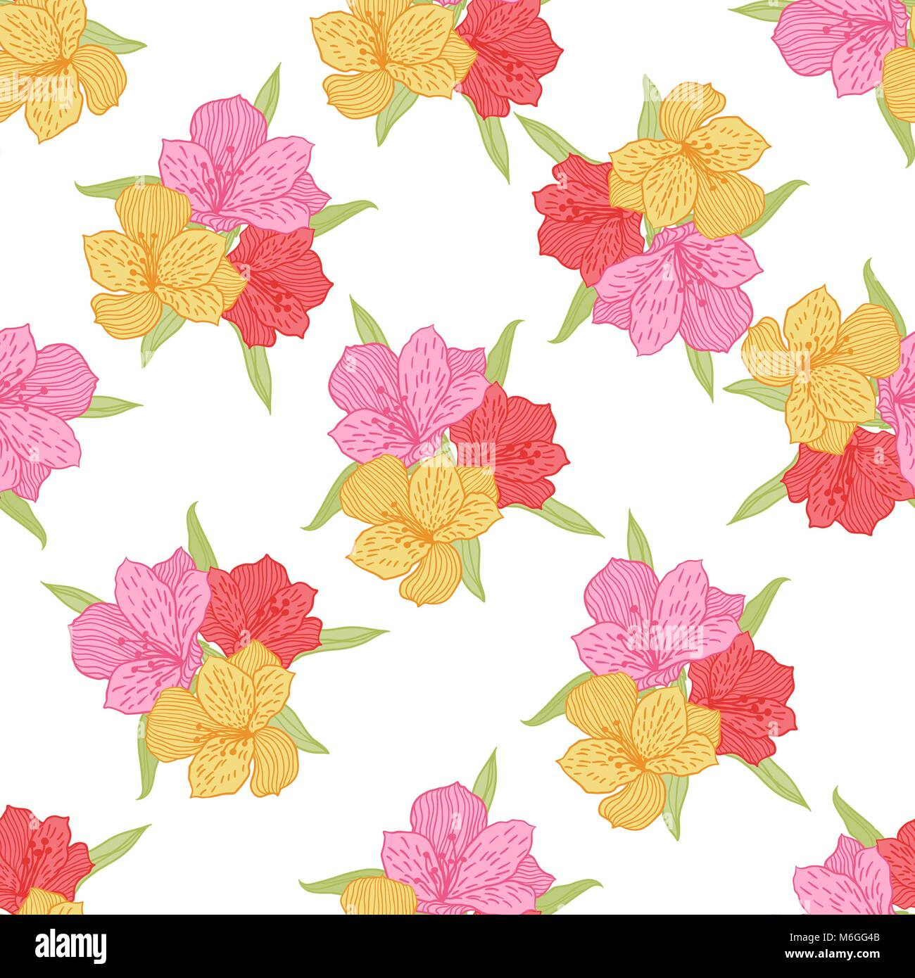 Abstract elegance seamless flower pattern with orchid - Stock Image