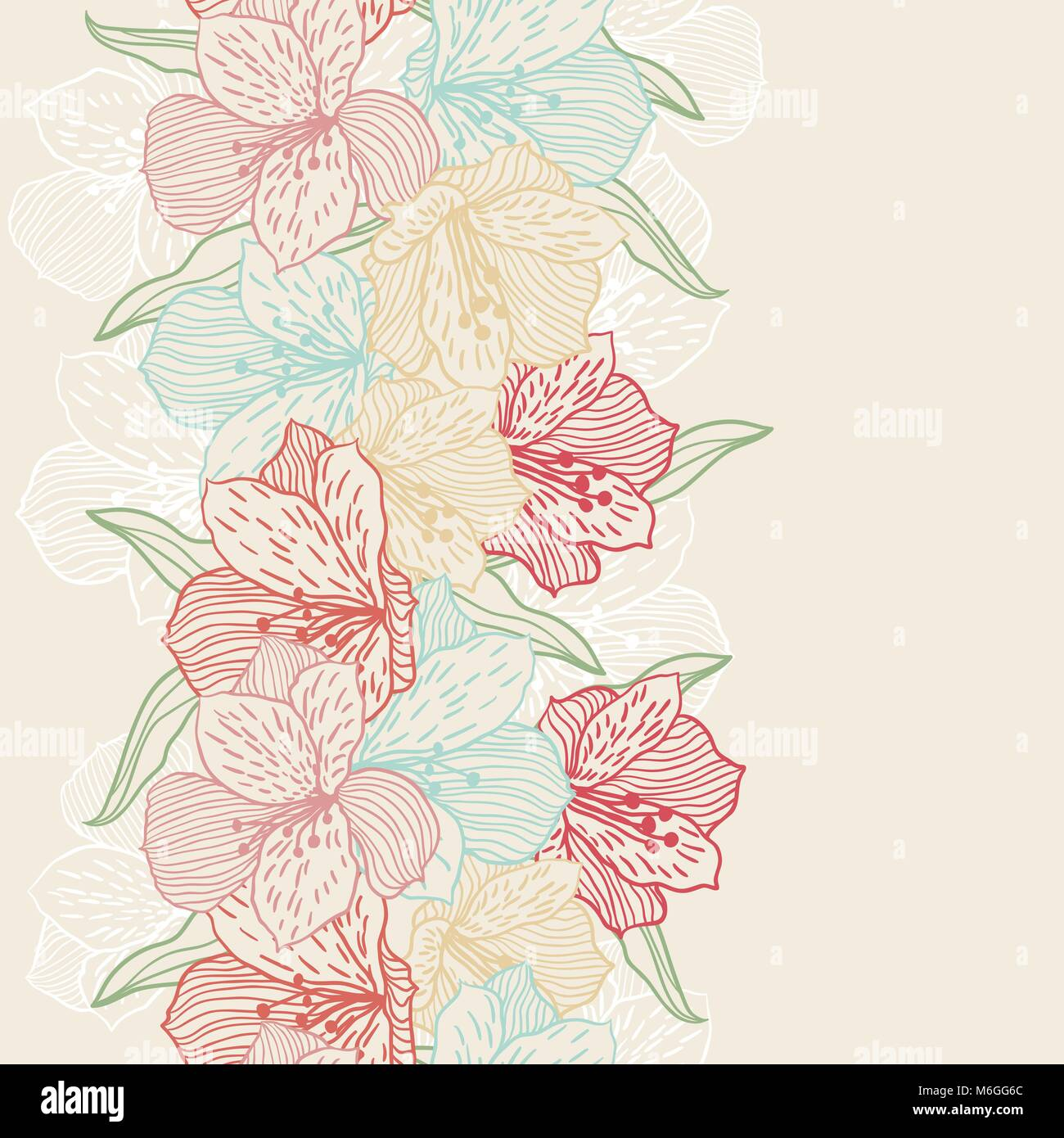 Abstract vintage seamless flower pattern with orchid - Stock Image