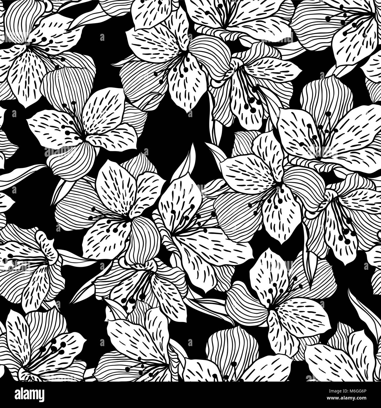 Abstract black seamless flower pattern with orchid - Stock Image