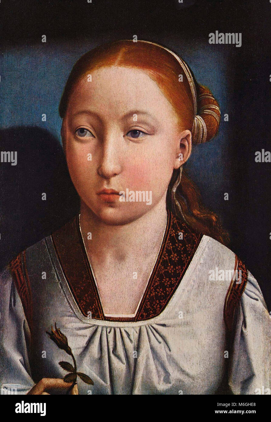 Portrait of a girl, probably Catherine of Aragon at about 11 years of age - Juan de Flandes, circa 1496 - Stock Image