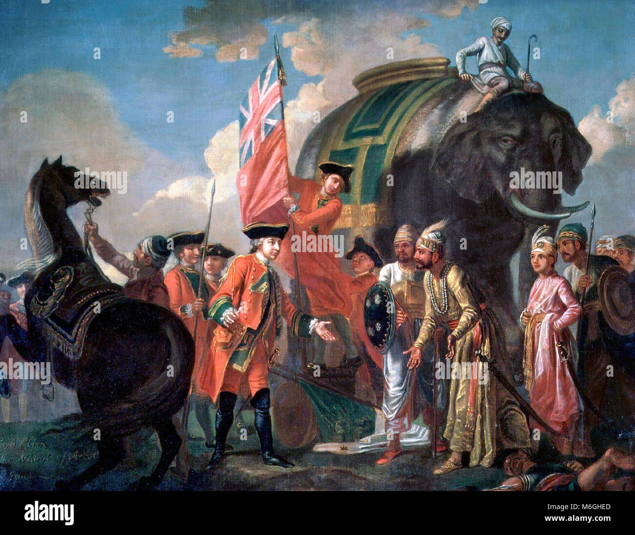 Robert Clive and Mir Jafar after the Battle of Plassey, 1757. Francis Hayman, 1760 - Stock Image
