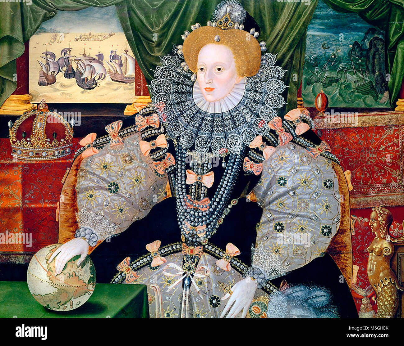 Portrait of Elizabeth I of England, the Armada Portrait.   The portrait was made to commemorate the defeat of the - Stock Image