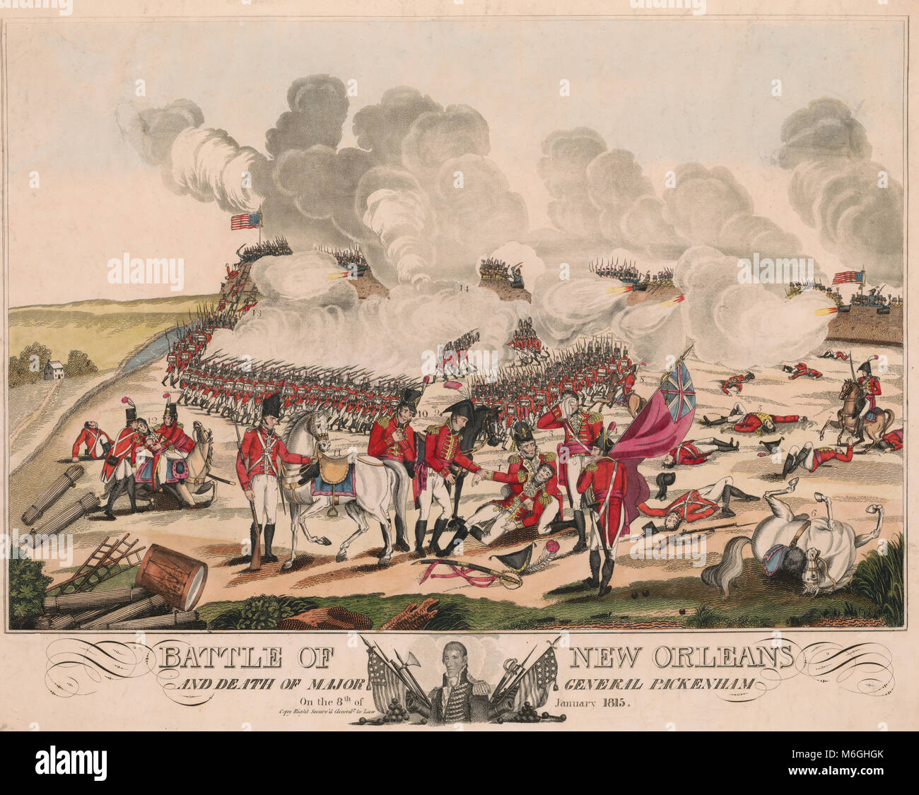Battle of New Orleans and death of Major General Pakenham on the 8th of January 1815 -  Battle of New Orleans from - Stock Image