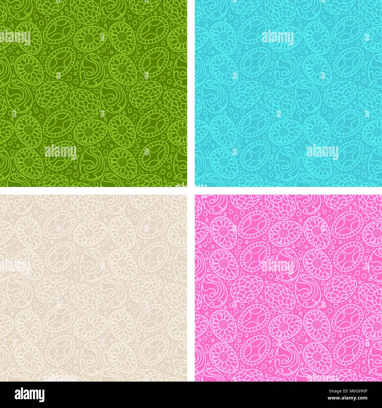 Happy Easter egg seamless patterns set Stock Vector