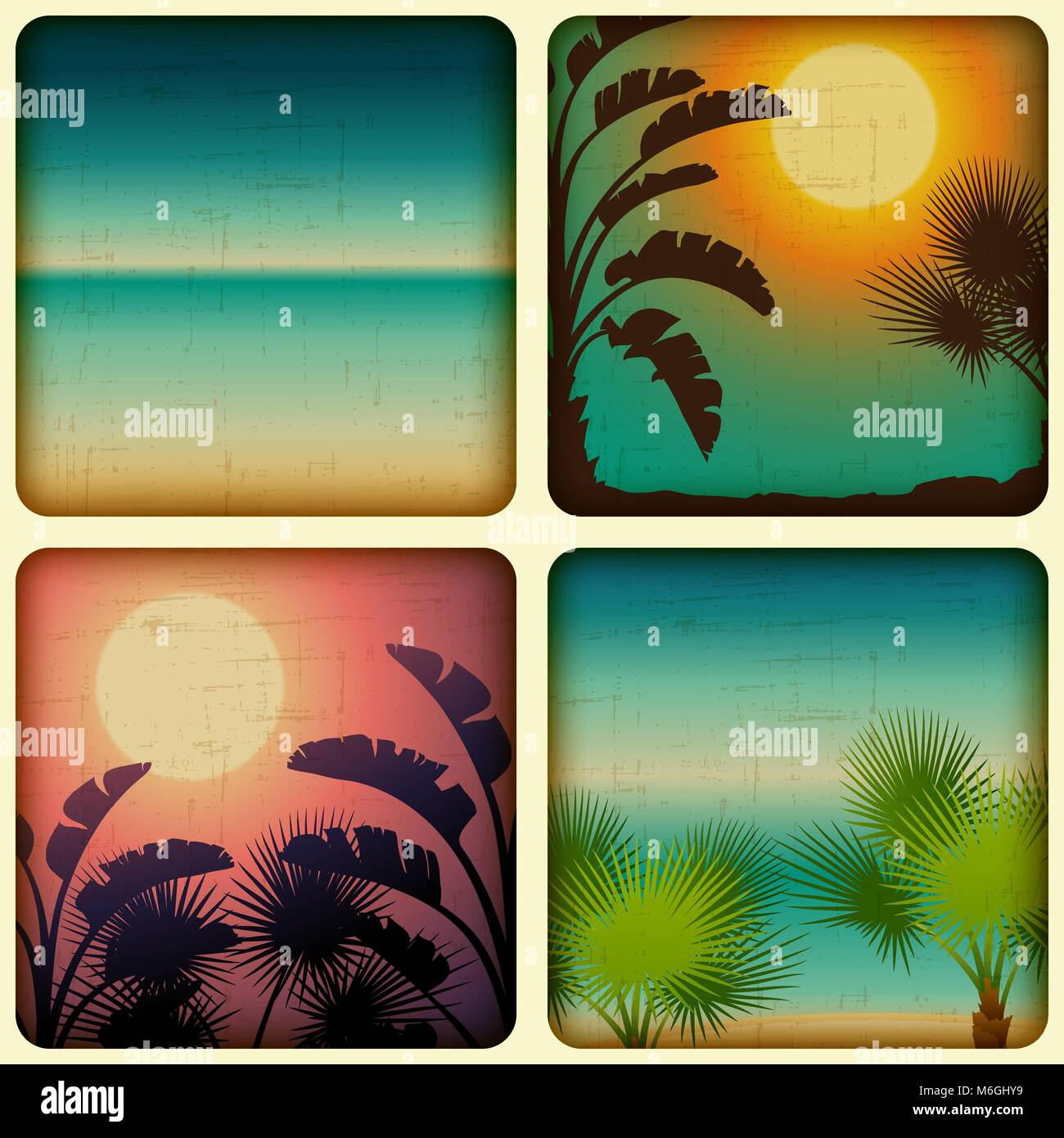 Retro tropical cards with seaside and palm trees - Stock Vector